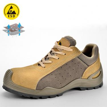Safety shoe for summer beige and gray L-7295