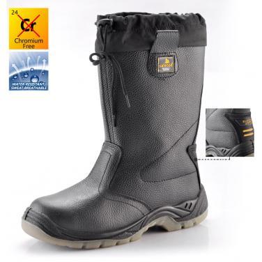 H-9426 Высокие черные защитные обуви PU/TPU