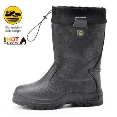 H-9426 Высокие черные защитные обуви резиновая подошва