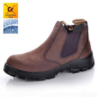 M-8025 Коричневые нубук защитные обуви без шнурков ПУ