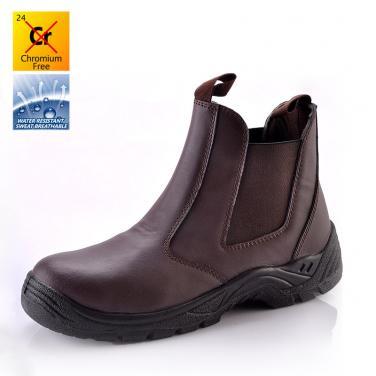 M-8025 Темно-коричневые защитные обуви без шнурков ПУ