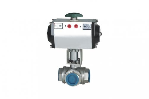RV Q641F Screwed Pneumatic Three-way Ball Valve