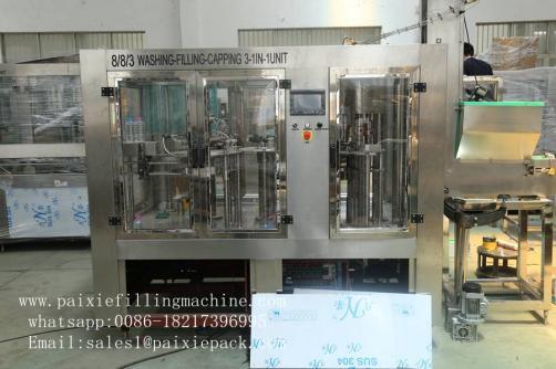 Fruit juice bottle washing filling capping machine unit