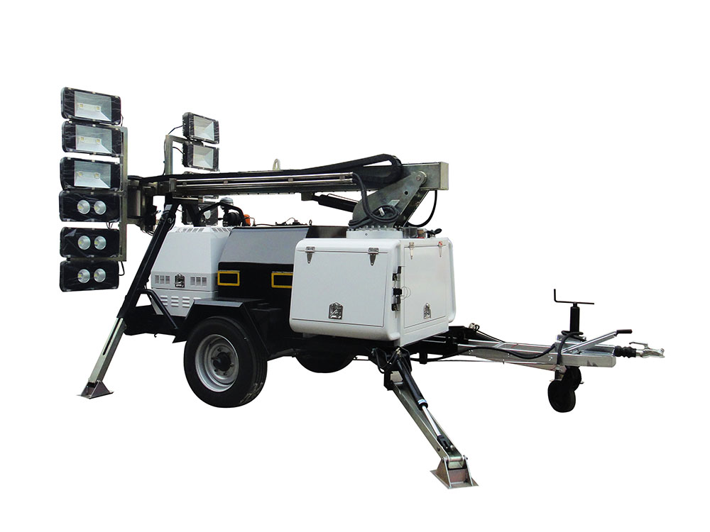 Full hydraulic LED lighting tower for mining