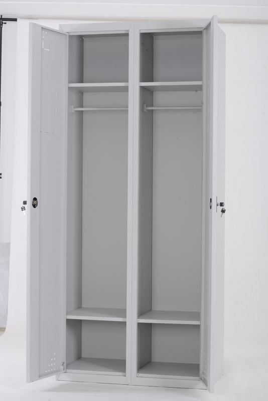 Mirrored double door clothing cabinet