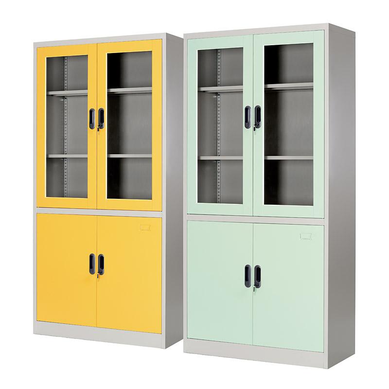 Double-tier glass&metal door cupboard 900*1850mm