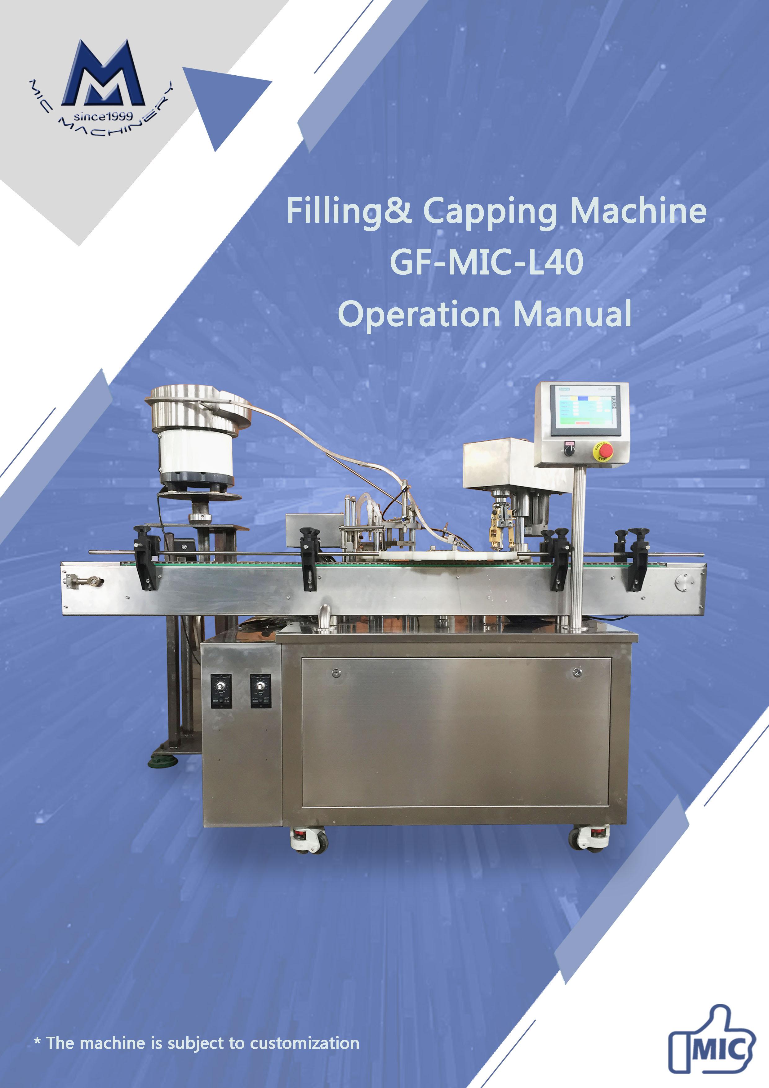 Manual of L40 oral liquid filling machine