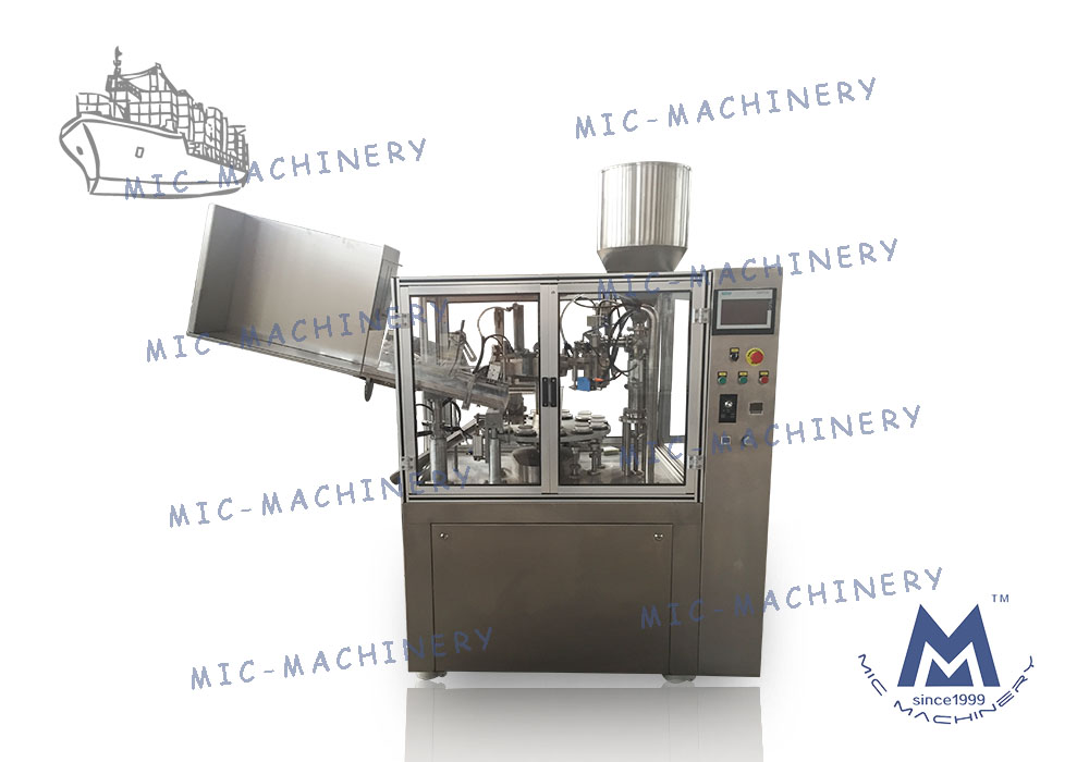 MIC-R60-I filling sealing machine with Swiss heating gun export to India client