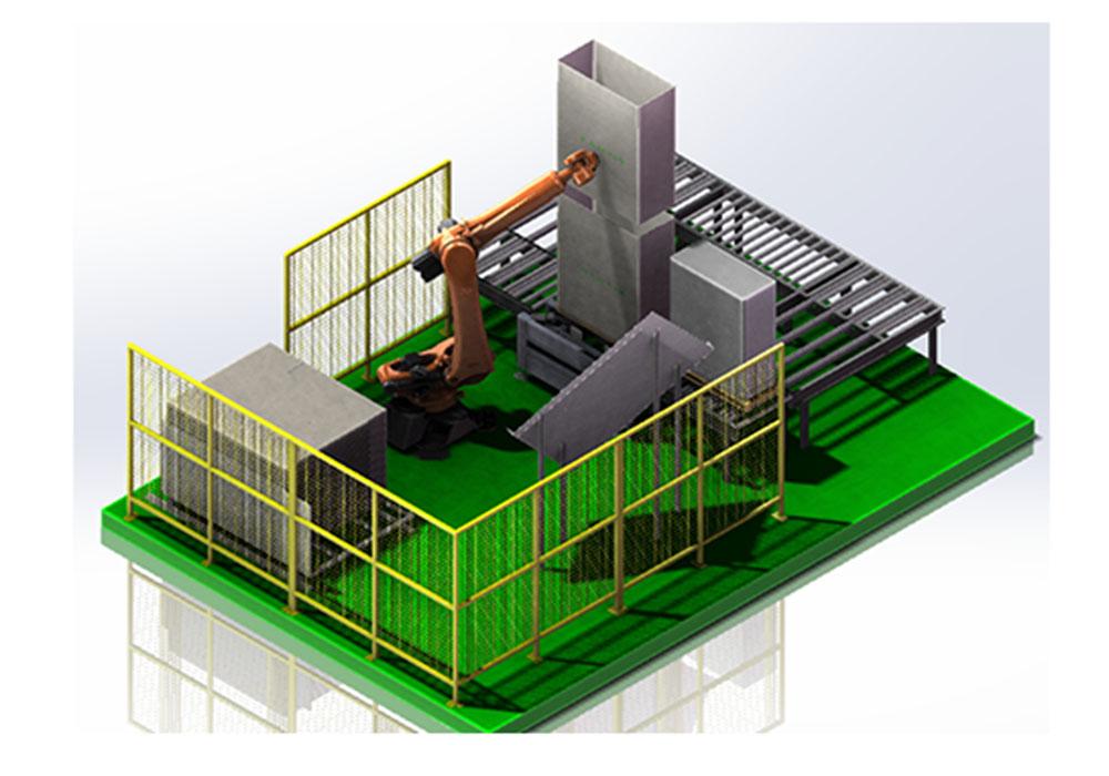 空调外机自动化开箱套箱系统
