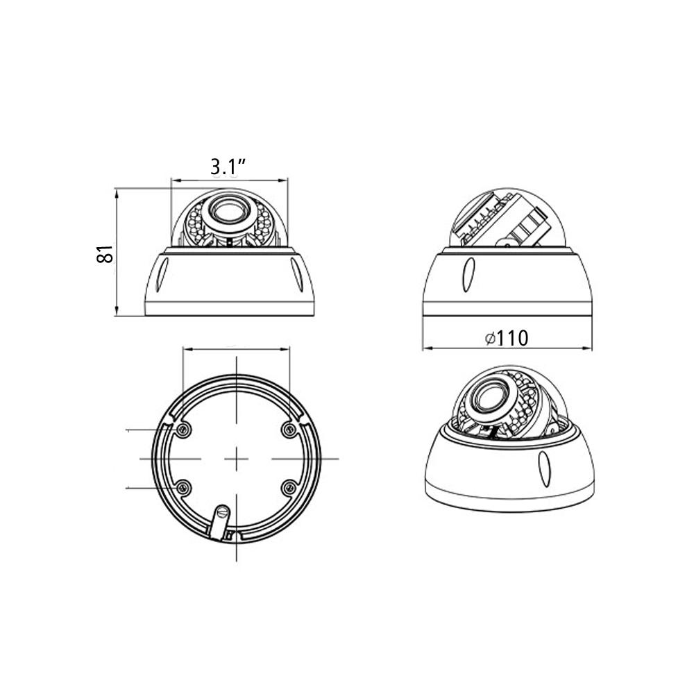 4MP VSS Mobile Face Detection IK10 Varifocal Indoor IP Camera NC6132-4M