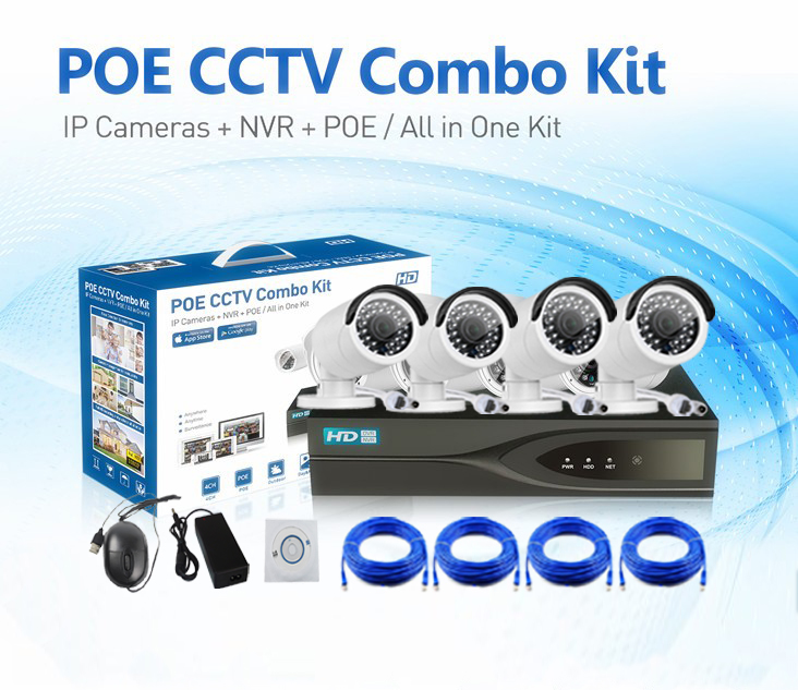 4CH 1080P Face Detection H.265 IP PoE Camera System KIT-NVR3204-4P