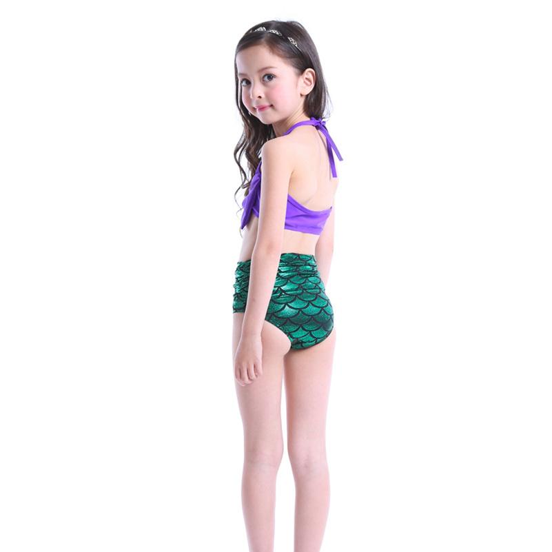 Girls swimwear mermaid printing shinning children swimsuit OEM