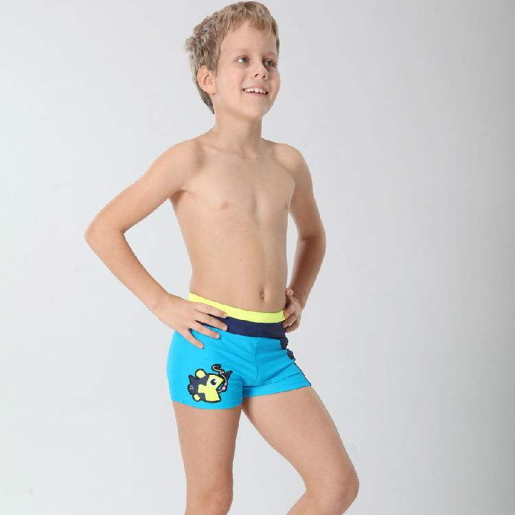 Boys' swimming trunk OEM cartoon printing solid color