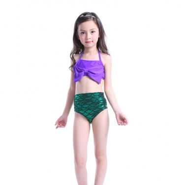 Girls swimwear mermaid printing shinning children swimsuit OEM