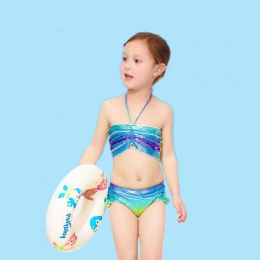 Kids shinning swimwear Girls OEM seperated swimwear