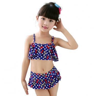 Girls floral printing bikini set muti-color