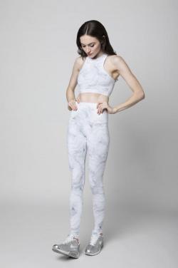 Ladies' high-waist printing active wear high neckline and long leggings