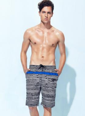 Men boardshorts grey melange printing shorts with cord OEM
