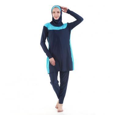 Muslim swimwear ladies swimsuit with headgear multi-color OEM service
