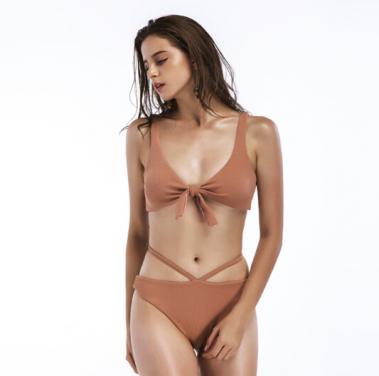 Ladies bikini swimwear front bow top with side lace bottom OEM service-beige
