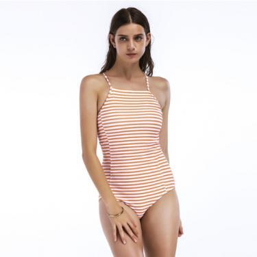 Ladies one piece swimwear striped printed high neck swimsuit OEM service-orange