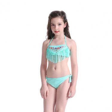Kids swimwear bikini set with tassels OEM service-light blue