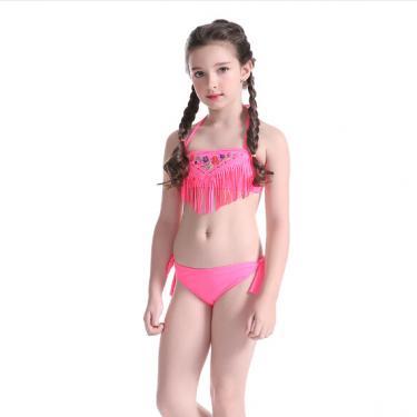 Kids swimwear girls bikini set with tassels OEM service-pink