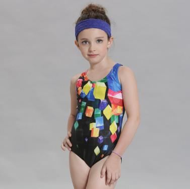 Kids swimwear girls one piece swimsuit with front printing OEM service