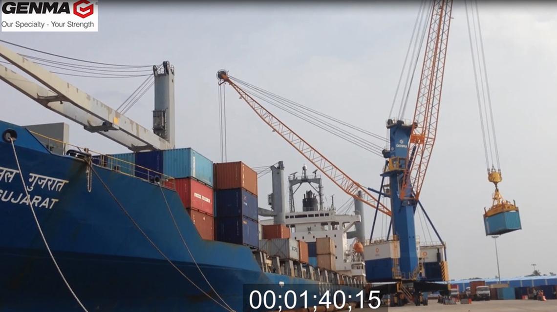 杰马高架吊/移动式港口起重机工作视频